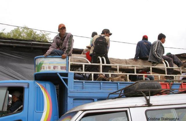 peasants and farmers arrive on trucks...