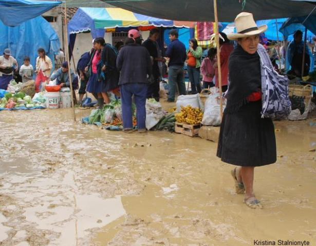 ...and on foot even tough the poring rain. chachapoyas