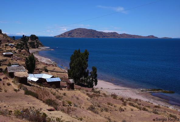 the island of Amantani on the horizon